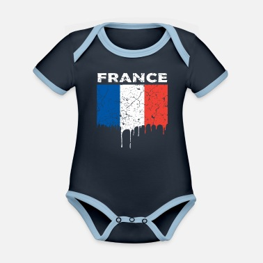Flag French flag - Organic Contrast Baby Bodysuit