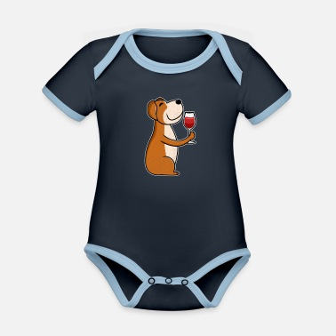 Wine Lover Wine lovers dog wine lovers & dog lovers - Organic Contrast Baby Bodysuit
