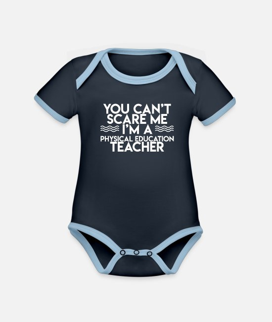 Physical Education Baby Clothes - Gymnastics Teacher Gymnastics teacher and physical education teacher - Organic Contrast Baby Bodysuit navy/sky
