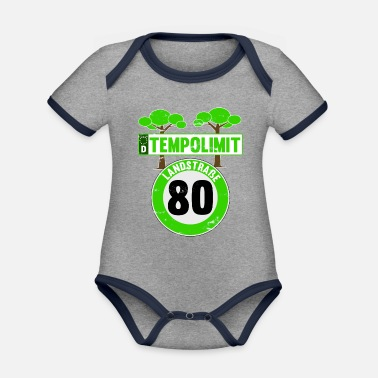Speed Frenzy Speed limit 80 rural road out of town - Organic Contrast Baby Bodysuit