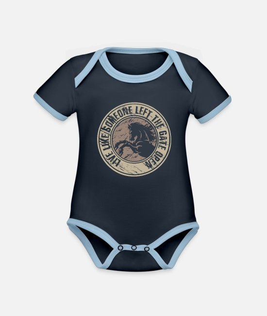Be Different Baby Bodysuits - Life like someone left the gate open - Organic Contrast Baby Bodysuit navy/sky