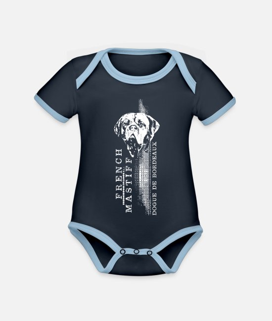 Vertical Baby Bodysuits - Dogue de Bordeaux - French Mastiff - Organic Contrast Baby Bodysuit navy/sky