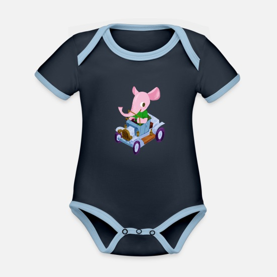 First Baby Clothes - Elephant in a vintage car - Organic Contrast Baby Bodysuit navy/sky