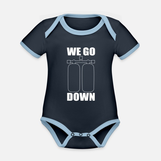 Aquatics Baby Clothes - diving - Organic Contrast Baby Bodysuit navy/sky