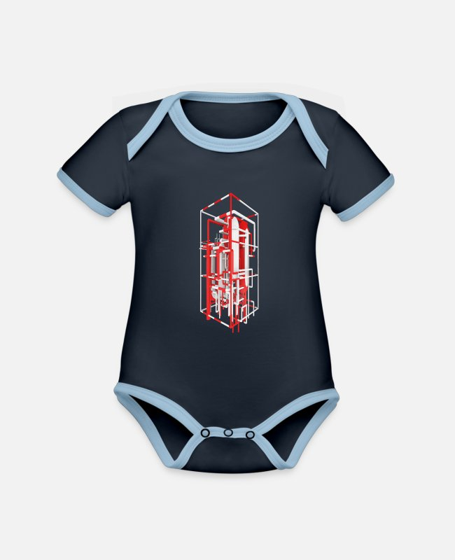 Industry Baby Bodysuits - Petroleum refinery, oil refinery, refinery - Organic Contrast Baby Bodysuit navy/sky