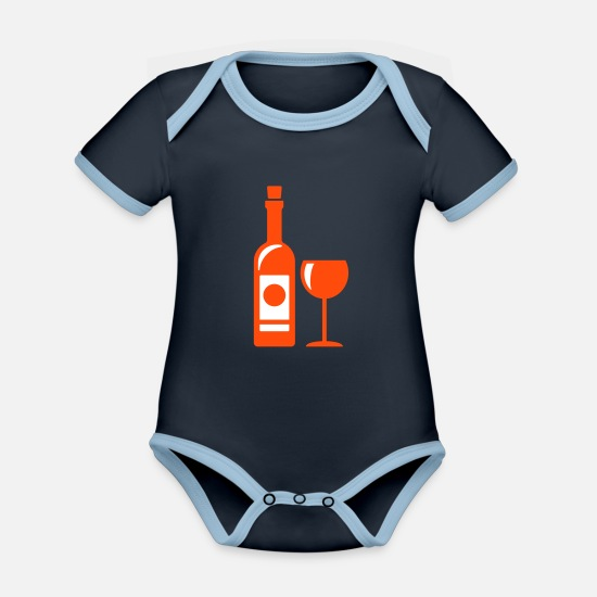 Romantic Baby Clothes - Romantic wine - Organic Contrast Baby Bodysuit navy/sky