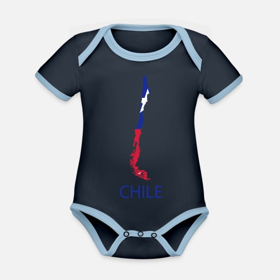 South America Baby Clothes - chile - Organic Contrast Baby Bodysuit navy/sky