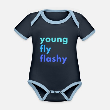 Flashy young fly flashy - Organic Contrast Baby Bodysuit