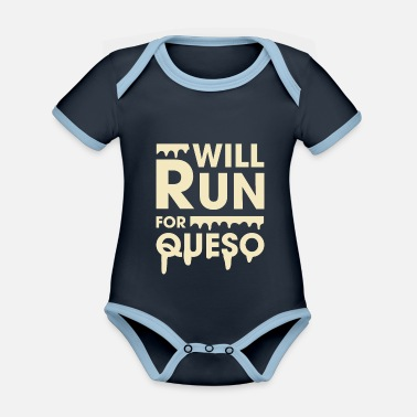 Funny Fitness Will Run For Queso Funny Fitness - Organic Contrast Baby Bodysuit