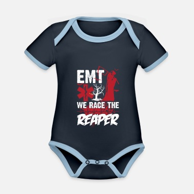 Funny Halloween Costume EMT We Race The Reaper Funny Halloween Costume - Baby Bio Kurzarmbody zweifarbig