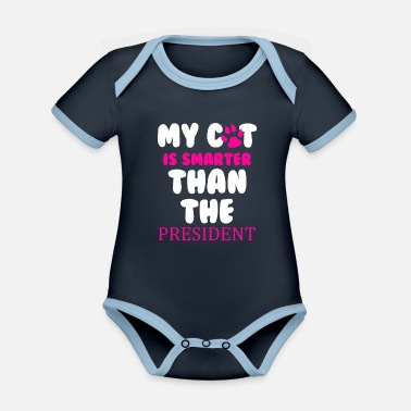 Funny Cat President Animal Pet Kitten Cat Lady - Organic Contrast Baby Bodysuit