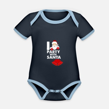 Party with santa - Organic Contrast Baby Bodysuit
