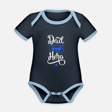 Saying Father's Day Best Dad Hero - Organic Contrast Baby Bodysuit