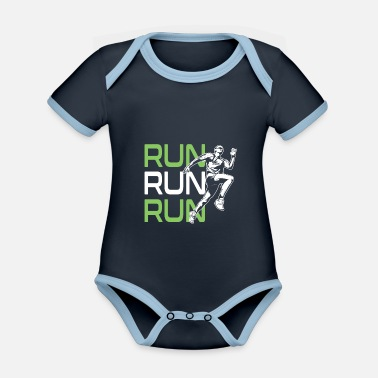 Sporty Run race run saying - Organic Contrast Baby Bodysuit