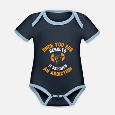 Squat Once you see results, it becomes an addiction - Organic Contrast Baby Bodysuit
