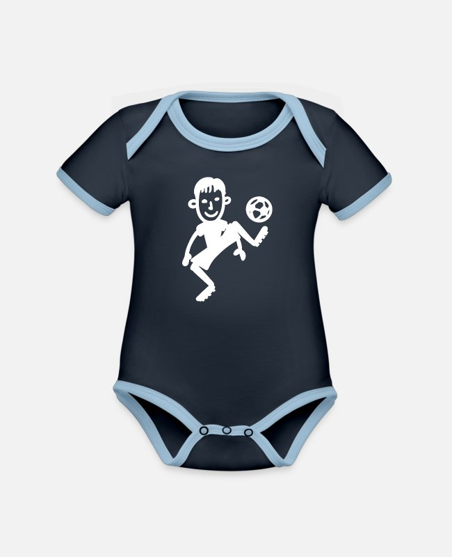 Training Baby Bodysuits - Soccer Player Soccer Player Soccer Kicker Funny - Organic Contrast Baby Bodysuit navy/sky