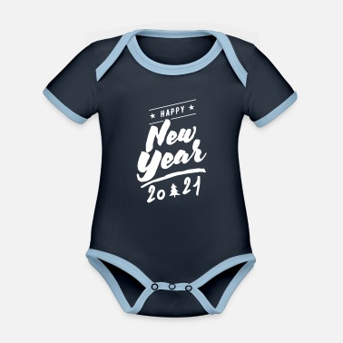 Happy New Year Happy New Year, Happy New Year, Happy New Year - Organic Contrast Baby Bodysuit