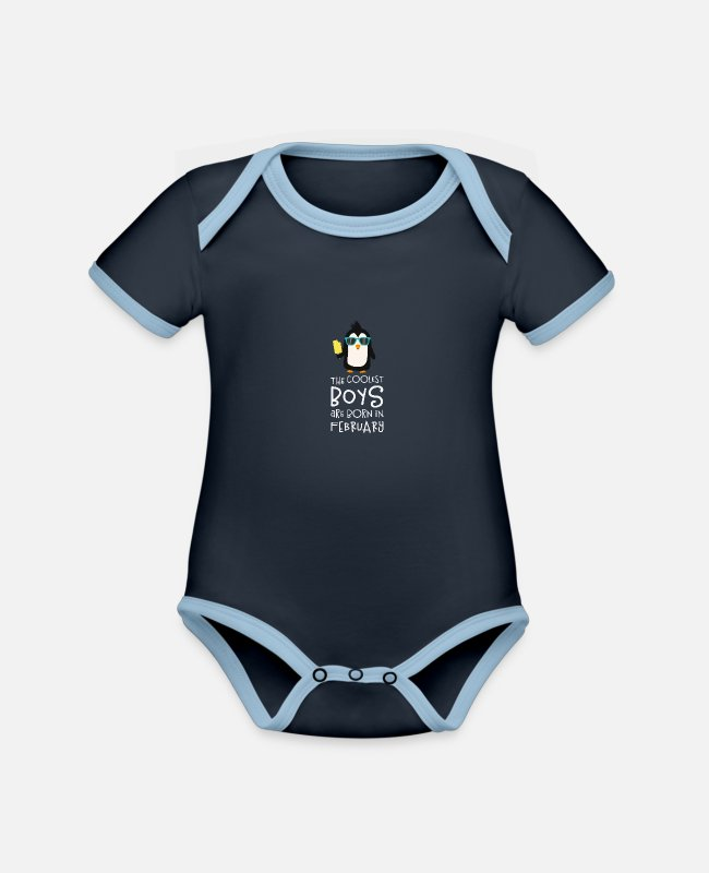 Nature Baby Bodysuits - Coolest Boys Birthday in FEBRUARY Slh5n - Organic Contrast Baby Bodysuit navy/sky