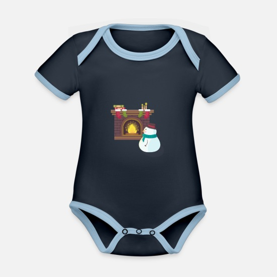 Gift Idea Baby Clothes - Snowman in front of the stove - Organic Contrast Baby Bodysuit navy/sky
