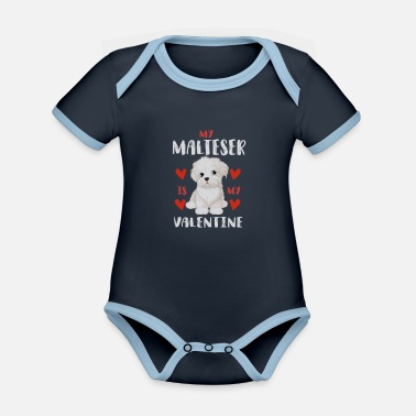 Beady Eyes Sweet Maltese White Puppy for Valentine's Day - Organic Contrast Baby Bodysuit