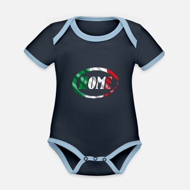 Rome Rome Italy rome Rome Italy - Organic Contrast Baby Bodysuit