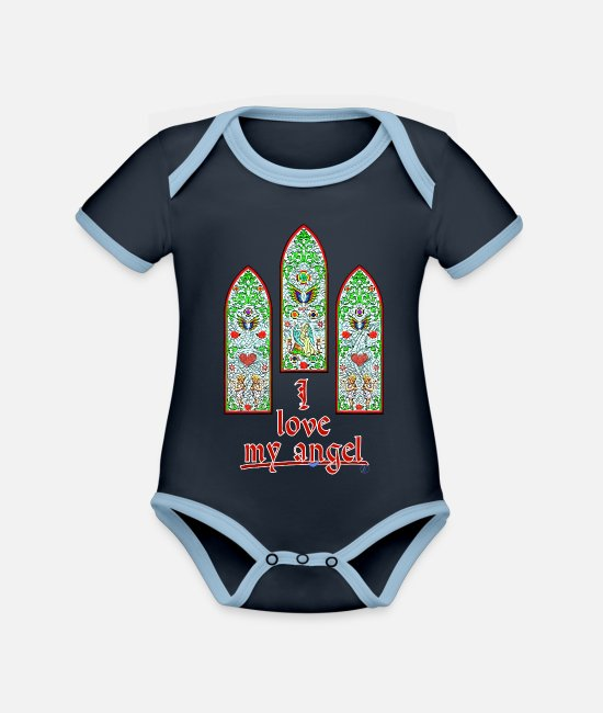 Stained Glass Windows Baby Bodysuits - I love my angel - By FEDVAL - Organic Contrast Baby Bodysuit navy/sky