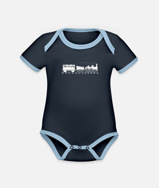 Training Baby Bodysuits - Train Lover Gift Vintage Railroad Trains - Organic Contrast Baby Bodysuit navy/sky