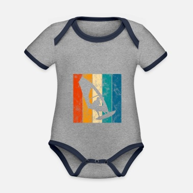 South Surfing Retro Windsurfing Windsurfing Windsurfer - Organic Contrast Baby Bodysuit