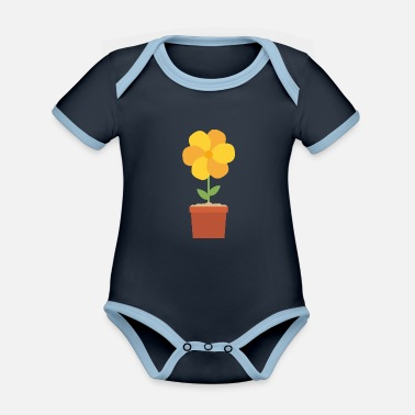 Flower Pot Yellow flower in the pot - Organic Contrast Baby Bodysuit