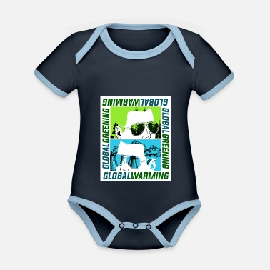 Global Global Warming or Global Greening - Organic Contrast Baby Bodysuit