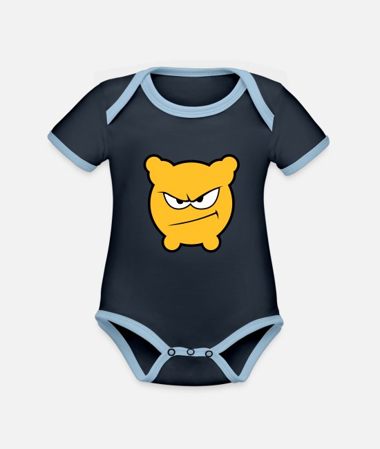 Grin Baby Clothes - Gloomy is pissed! - Organic Contrast Baby Bodysuit navy/sky
