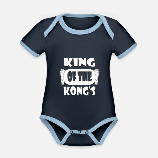 King Kong Babykleidung - KING OF THE KONG'S - Baby Bio Kurzarmbody zweifarbig navy/sky