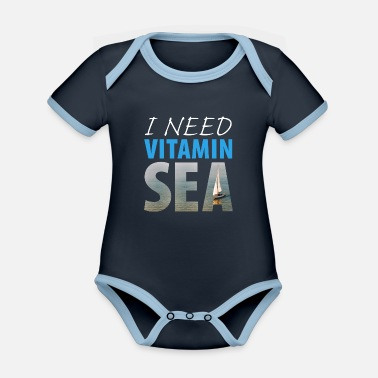 I NEED VITAMIN SEA! (dark background) - Organic Contrast Baby Bodysuit