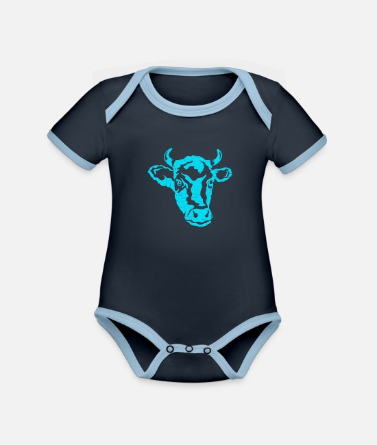 Cow Baby Clothes - Cow cow head farmer cows cattle cattle breeding - Organic Contrast Baby Bodysuit navy/sky