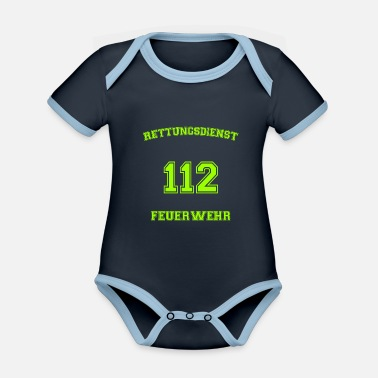 Workwear Rescue Service Fire Department 112 Workwear - Organic Contrast Baby Bodysuit