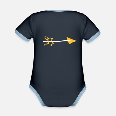 Young Underwear Symbol - Shooting Arrow - Organic Contrast Baby Bodysuit