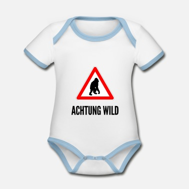 Drivers License Attention Wild A monkey - Organic Baby Contrasting Bodysuit