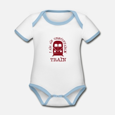 Trains Train Locomotive Train Cool present - Organic Contrast Baby Bodysuit