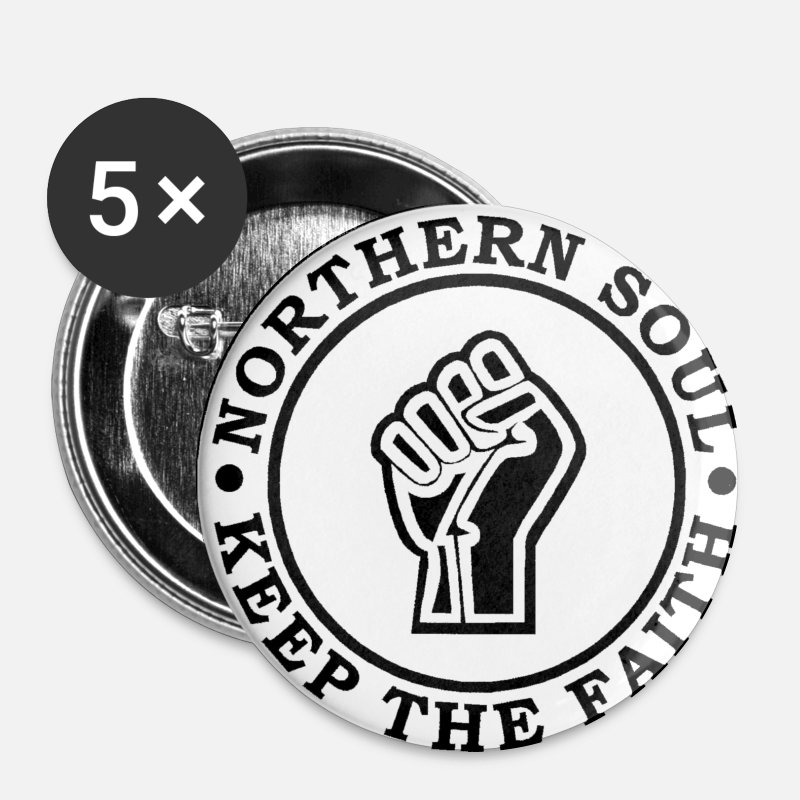 Northern Soul Buttons - Northern Soul Keep the Faith Disc MBAS - Medium Buttons white