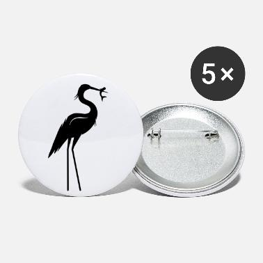 Heron with fish in its beak - Medium Buttons