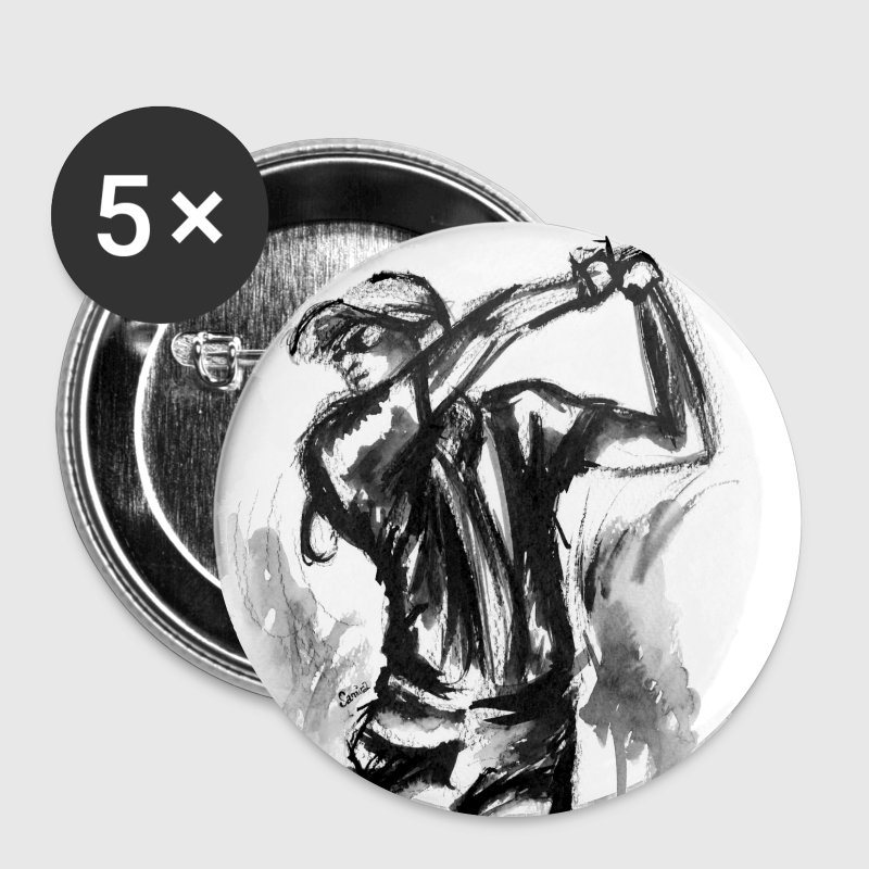 Golf, Le swing en aquarelle - Badge moyen 32 mm
