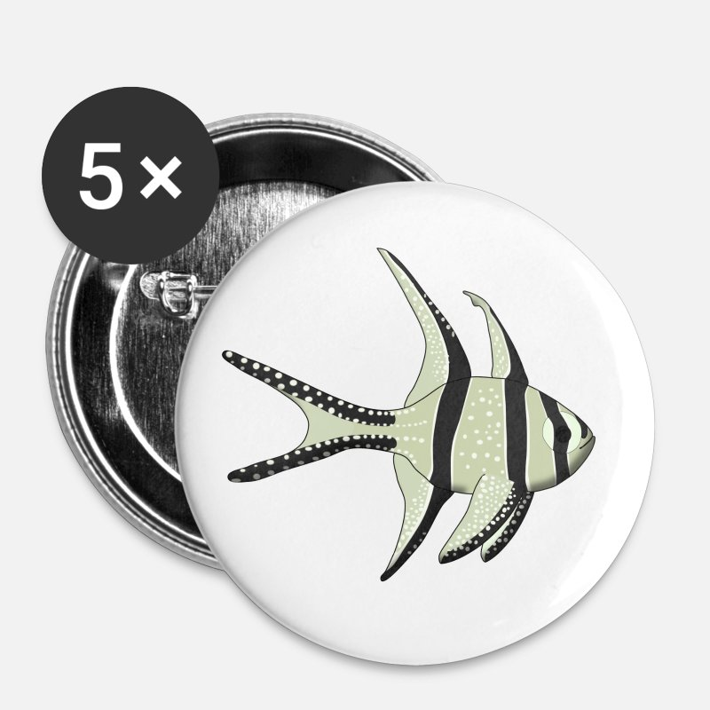 Mer Badges - poisson - Badges Moyens blanc