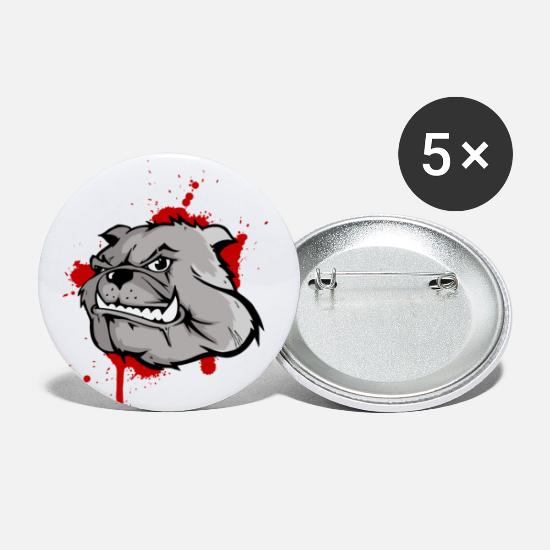 Bulldoge Buttons & Anstecker - bulldog head - Buttons mittel Weiß