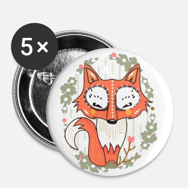a small fox in the forest - Chapa mediana 32 mm
