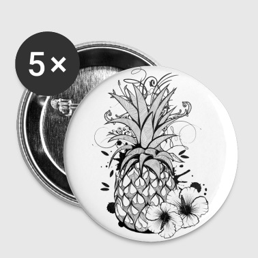 Pineapple with hibiscus blossom - Buttons middel 32 mm