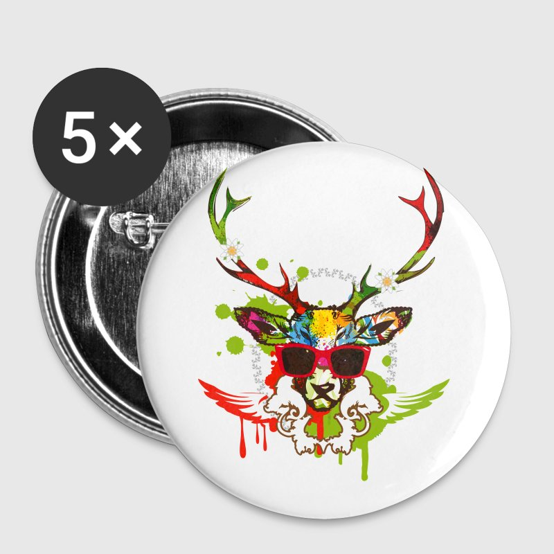 A stag's head with red sunglasses - Buttons medium 32 mm