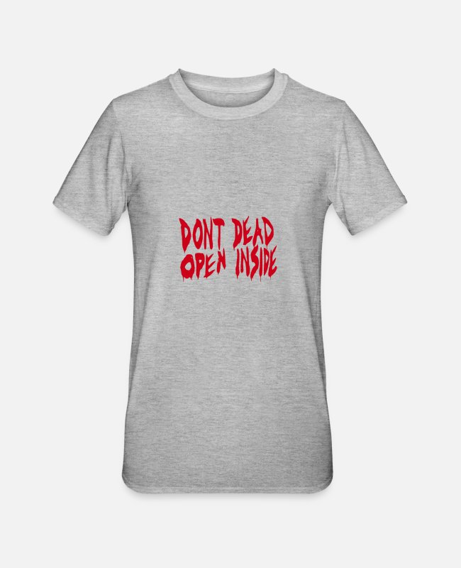 Twd T-Shirts - Don't Open dead inside from twd - Unisex Polycotton T-Shirt heather grey