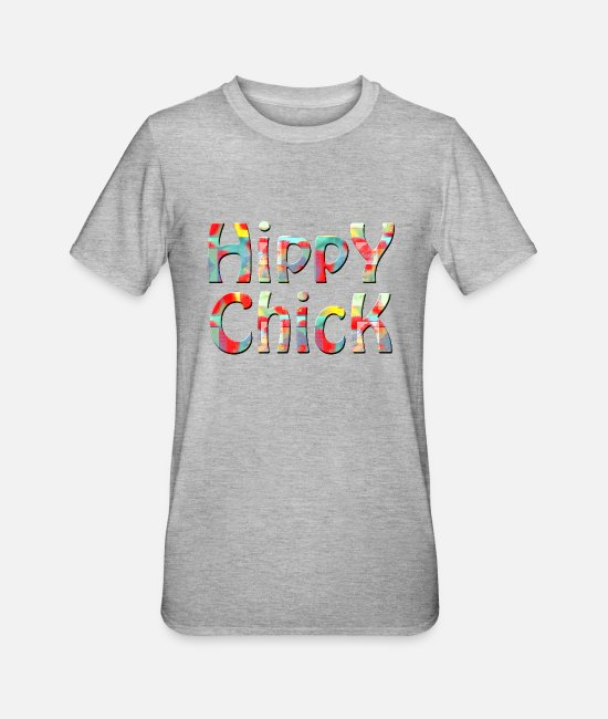 Hipster T-Shirts - hippy chick - Unisex Polycotton T-Shirt heather grey