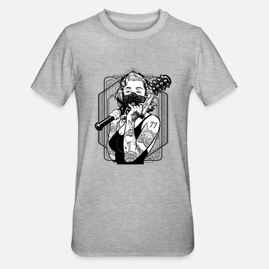 Gangster Gangster Style Woman with Tattoos and Bat T-Shirt - Unisex Polycotton T-Shirt