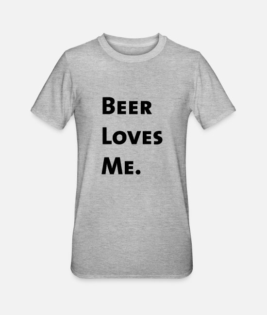 St Patricks Day T-Shirts - Beer Loves Me. - Unisex Polycotton T-Shirt heather grey